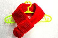 ポンポン付マフラー Mサイズ (赤)の画像